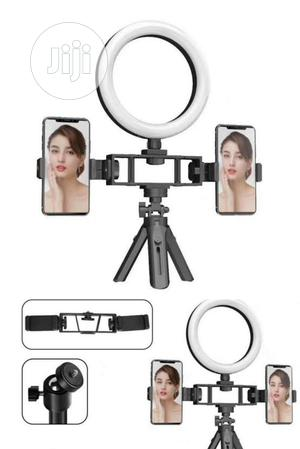 Beauty Live Double Phone Holder With Ring Light Tripod | Accessories & Supplies for Electronics for sale in Lagos State, Ikeja