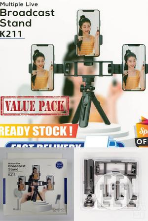 K211 Multi Phone Live Tripod Stand, 3 Phone Holder Broadcast | Accessories for Mobile Phones & Tablets for sale in Lagos State, Ikeja