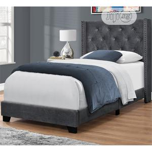 Bed- Tufted Chrome Nailhead Twin Wingback Panel Bed | Furniture for sale in Lagos State, Ikeja