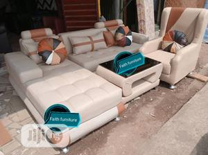 L Shape Leather Sofa With One Royal Single   Furniture for sale in Lagos State, Ojo