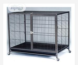 Indoor Metal Dog Cage(With Trolley and Plastic Tray)   Pet's Accessories for sale in Lagos State, Amuwo-Odofin