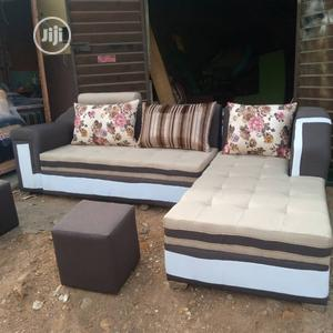 L Shape Fabric Sofa With 2 Puff Table   Furniture for sale in Lagos State, Ikeja