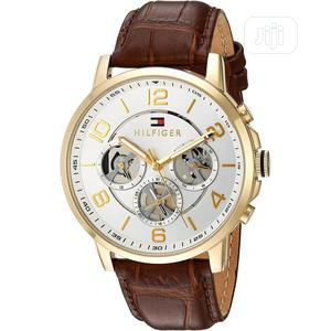 High Quality Tommy Hilfiger White Dial Brown Leather Watch | Watches for sale in Lagos State, Magodo