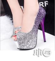 Silver Rhinestones With Purle High Heel Shoes | Shoes for sale in Osun State