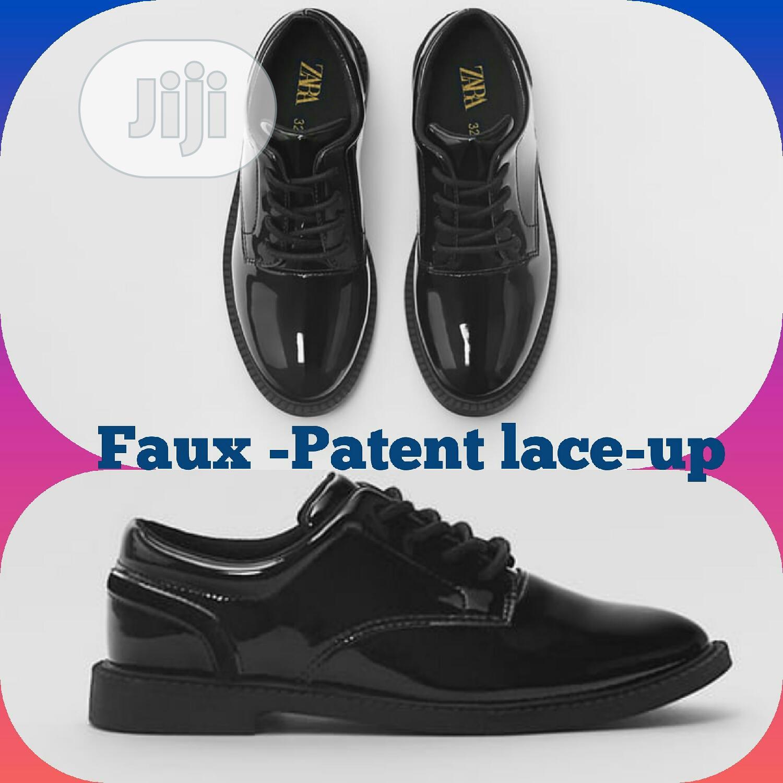 ZARA Faux-Patent Lace Up