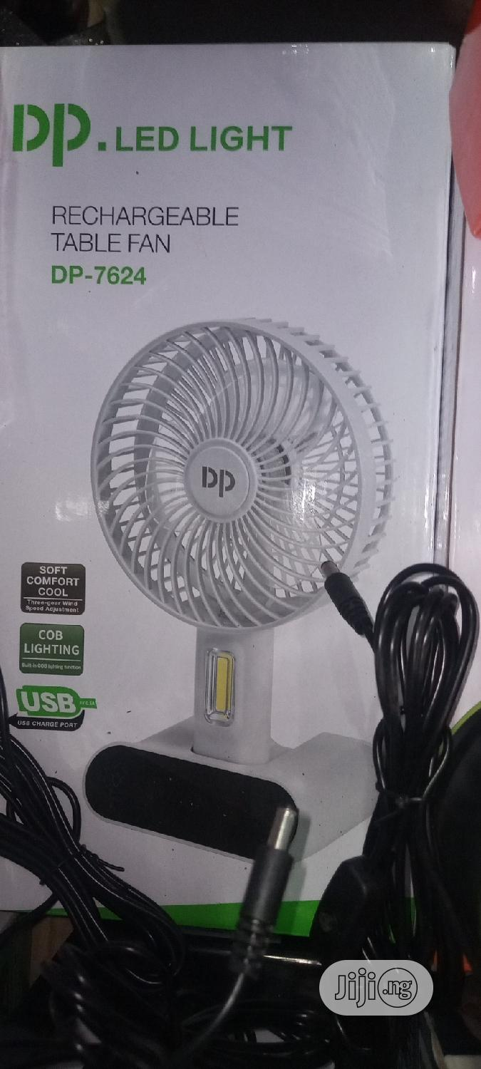 SCREEN TOURCH DP Chargable Table Fan(Dp-7624)+Led+Usb Output