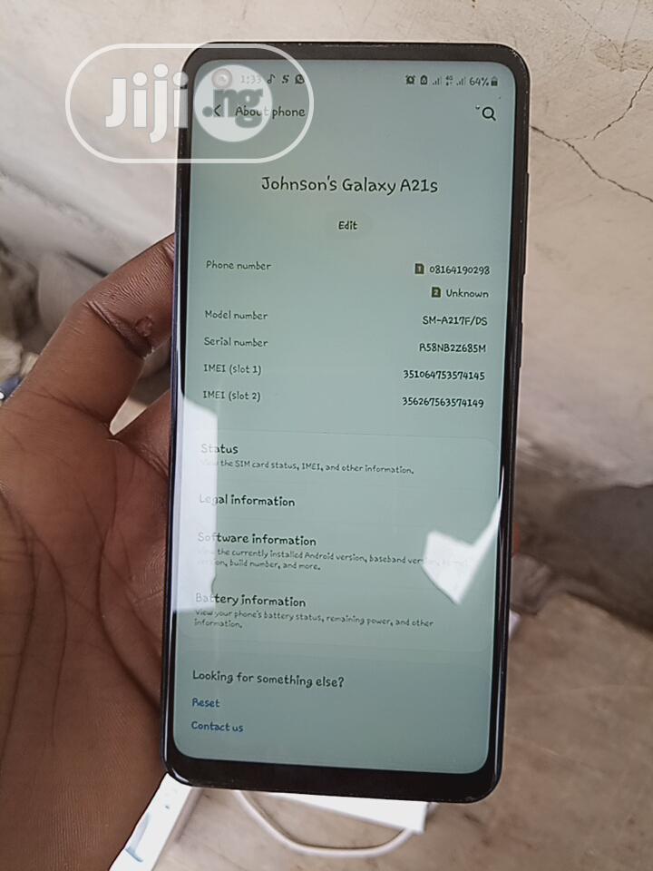 Samsung Galaxy A21s 64 GB Blue   Mobile Phones for sale in Gwagwalada, Abuja (FCT) State, Nigeria
