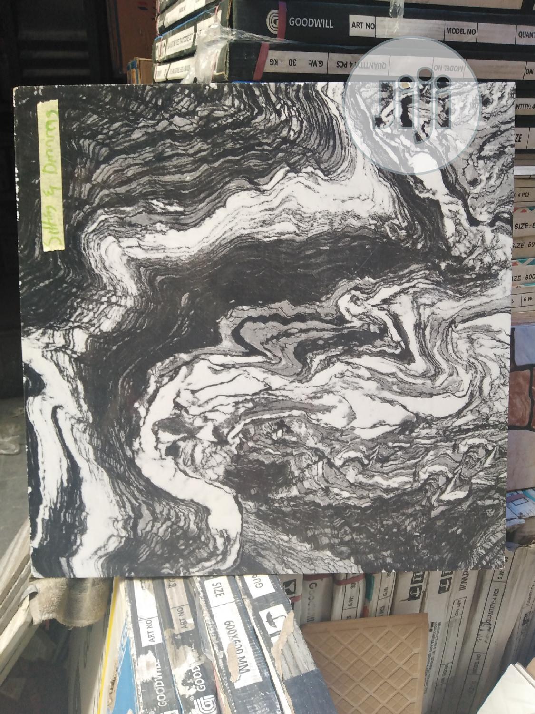Black and White Waves 60x60 Floor Tiles