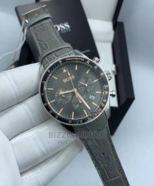 High Quality Hugo Boss Gray Leather Watch for Men   Watches for sale in Lagos State, Magodo