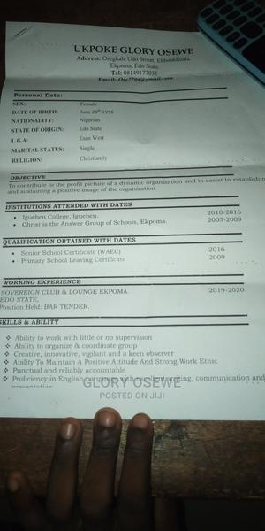 Female Shop Attendant at Agip/Ada George Area   Other CVs for sale in Rivers State, Port-Harcourt