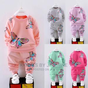 Girl 2piece Butterfly Design Tracksuit | Children's Clothing for sale in Lagos State, Alimosho