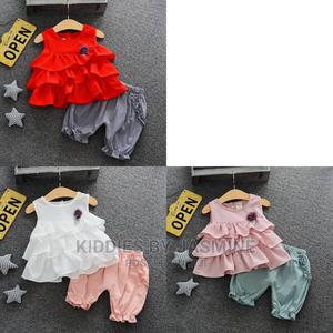 Girl 2piece Frills Top and 3⁄4 Trousers | Children's Clothing for sale in Lagos State, Alimosho