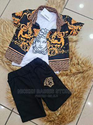 Stylish Versace 3in 1 Designer Wears(Tshirt+Shorts+Sleeves) | Children's Clothing for sale in Lagos State, Alimosho