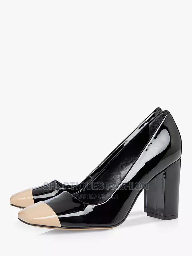 Leather Contrast Toe Block Heel Court Shoes, Black