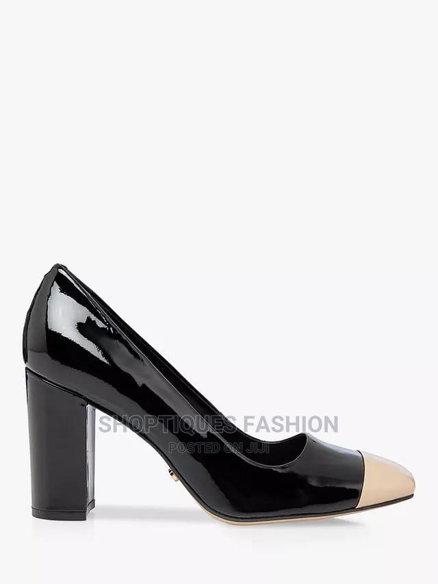 Leather Contrast Toe Block Heel Court Shoes, Black | Shoes for sale in Surulere, Lagos State, Nigeria