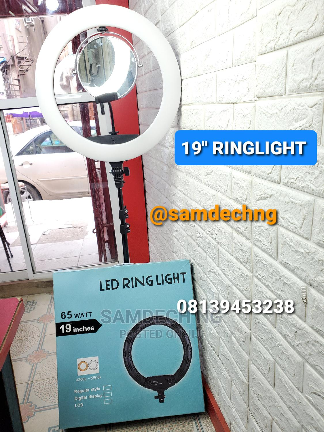 19'' Inch Ringlight With Remote, Mirror, Phone Holder