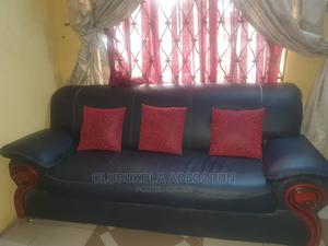 A Black Leather Settee Made Up of 3 Armchairs-1long, 2short   Furniture for sale in Lagos State, Gbagada