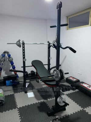 New Standard Weight Bench With 50kg Dumbbell and Barbell | Sports Equipment for sale in Rivers State, Port-Harcourt