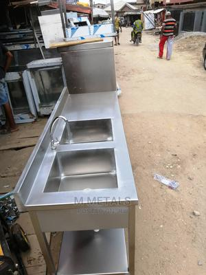 Industrial Double Sink Work Table | Restaurant & Catering Equipment for sale in Lagos State, Surulere