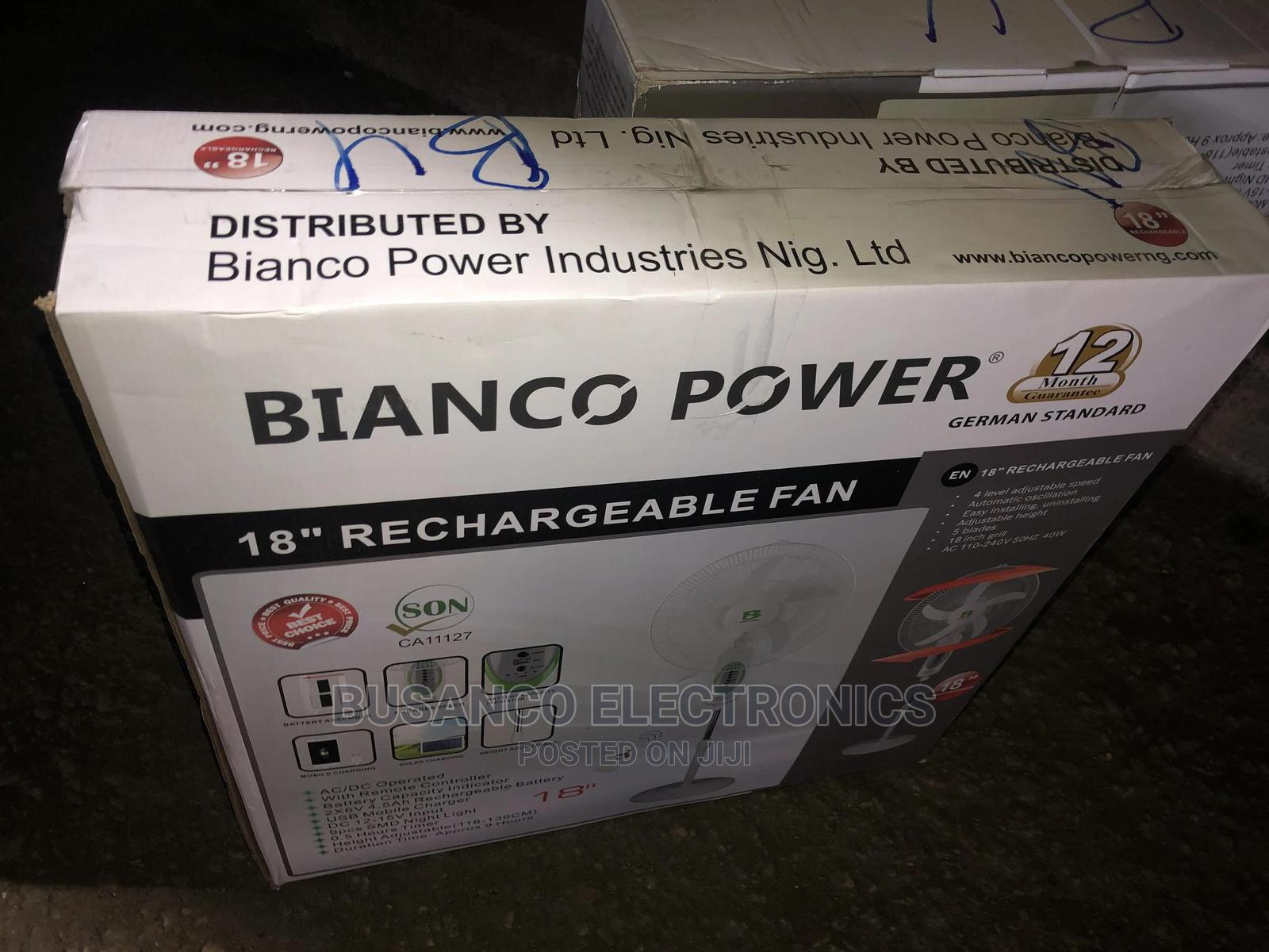 Bianco 18inchs Rechargeable Standing Fan | Home Appliances for sale in Ikeja, Lagos State, Nigeria