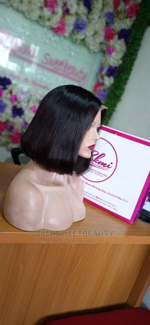 Double Drawn Short Bob Closure Human Hair Wig in Color 99j | Hair Beauty for sale in Lagos State, Yaba