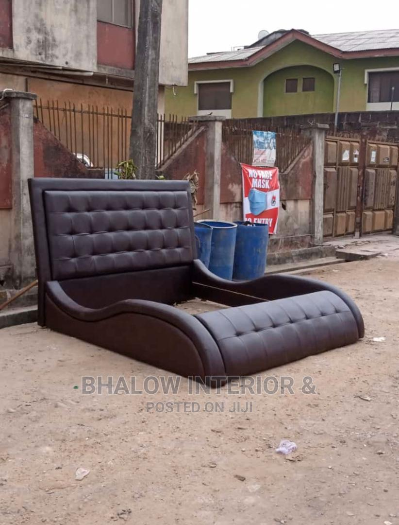 6 by 6 Brown Leather Bed Frame