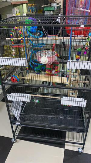 Very Big Parrot Bird Cage With Feeding Cup and Perchs   Pet's Accessories for sale in Lagos State, Lekki