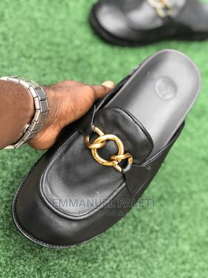 Black New Half Shoe Slide With Gold Chain   Shoes for sale in Lagos State, Mushin