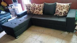 L-Shape Sofa Chair With Pillow. Brown Fabric Couches | Furniture for sale in Lagos State, Ikorodu