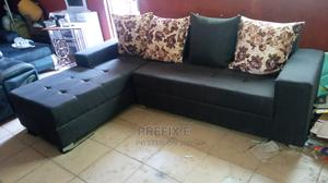 L-Shaped Sofa Chair With Pillow. Brown Fabric Couches | Furniture for sale in Lagos State, Agege