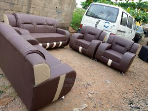 Set of Sofa Chairs. Brown Leather Couch of 3+2+1+1+1 Seaters | Furniture for sale in Lagos State, Abule Egba