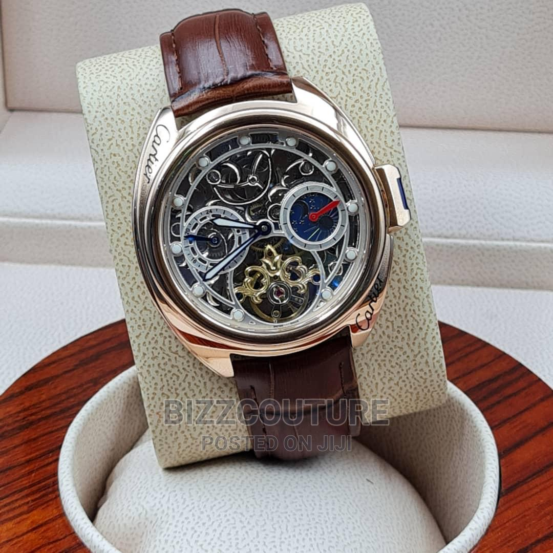 High Quality Cartier Leather Watch for Men