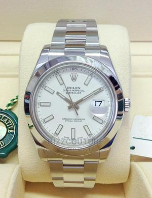 High Quality Rolex Date-Just Silver Dial Chain Watch for Men   Watches for sale in Lagos State, Magodo