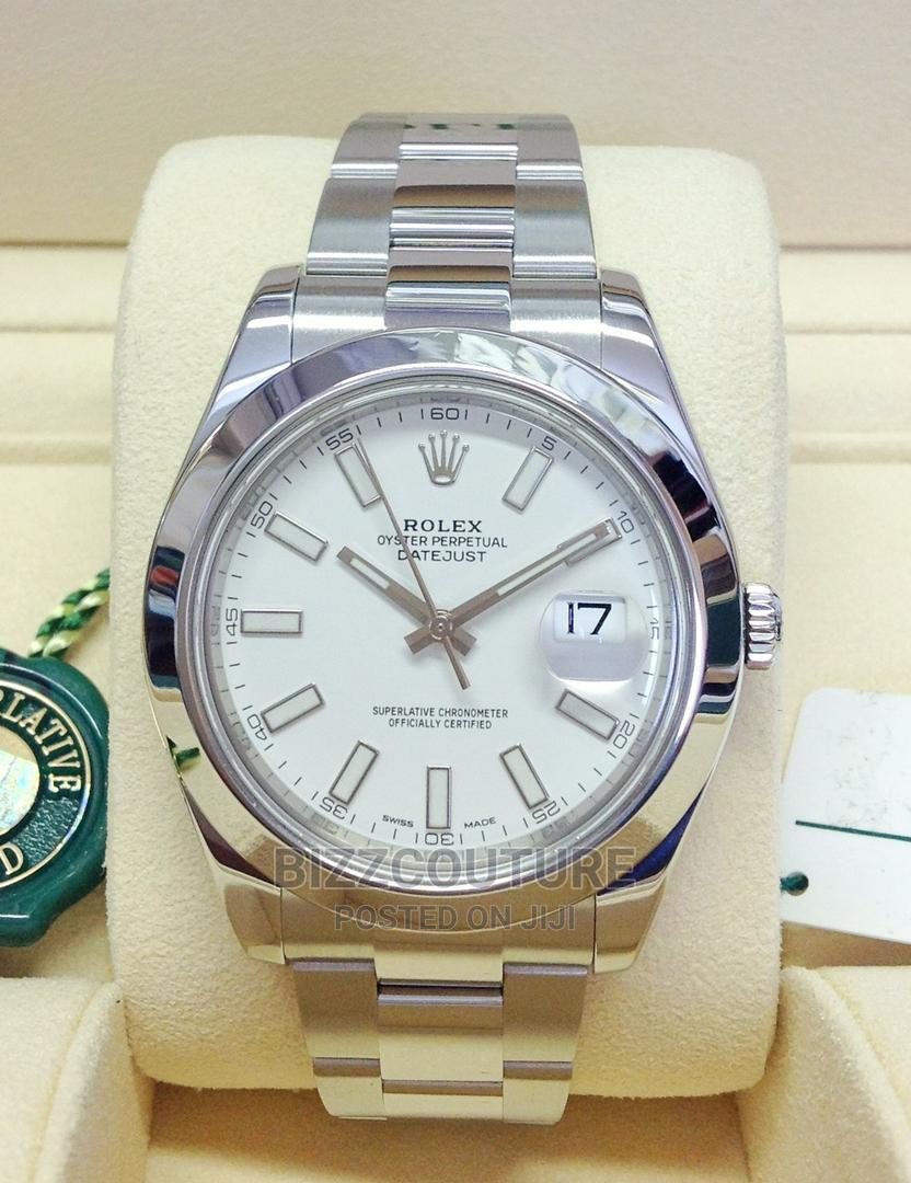 High Quality Rolex Date-Just Silver Dial Chain Watch for Men