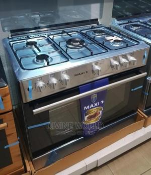 Maxi 90cm Standing Gas Cooker 5burners Big Oven Automatic | Kitchen Appliances for sale in Lagos State, Ojo