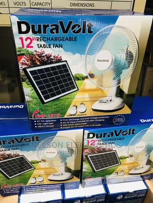 Duravolt Rechargeable Table Fan With Solar Panel And 2 Bulb | Solar Energy for sale in Lagos State, Ikeja