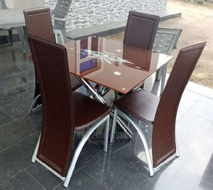 Glass Dinning Table by 4 Chairs | Furniture for sale in Lagos State, Ojo