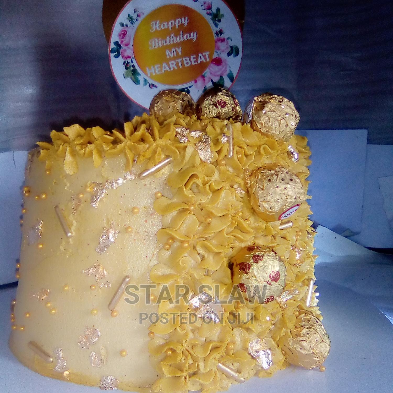 Busy Golden Red Velvet and Chocolate Birthday Cake