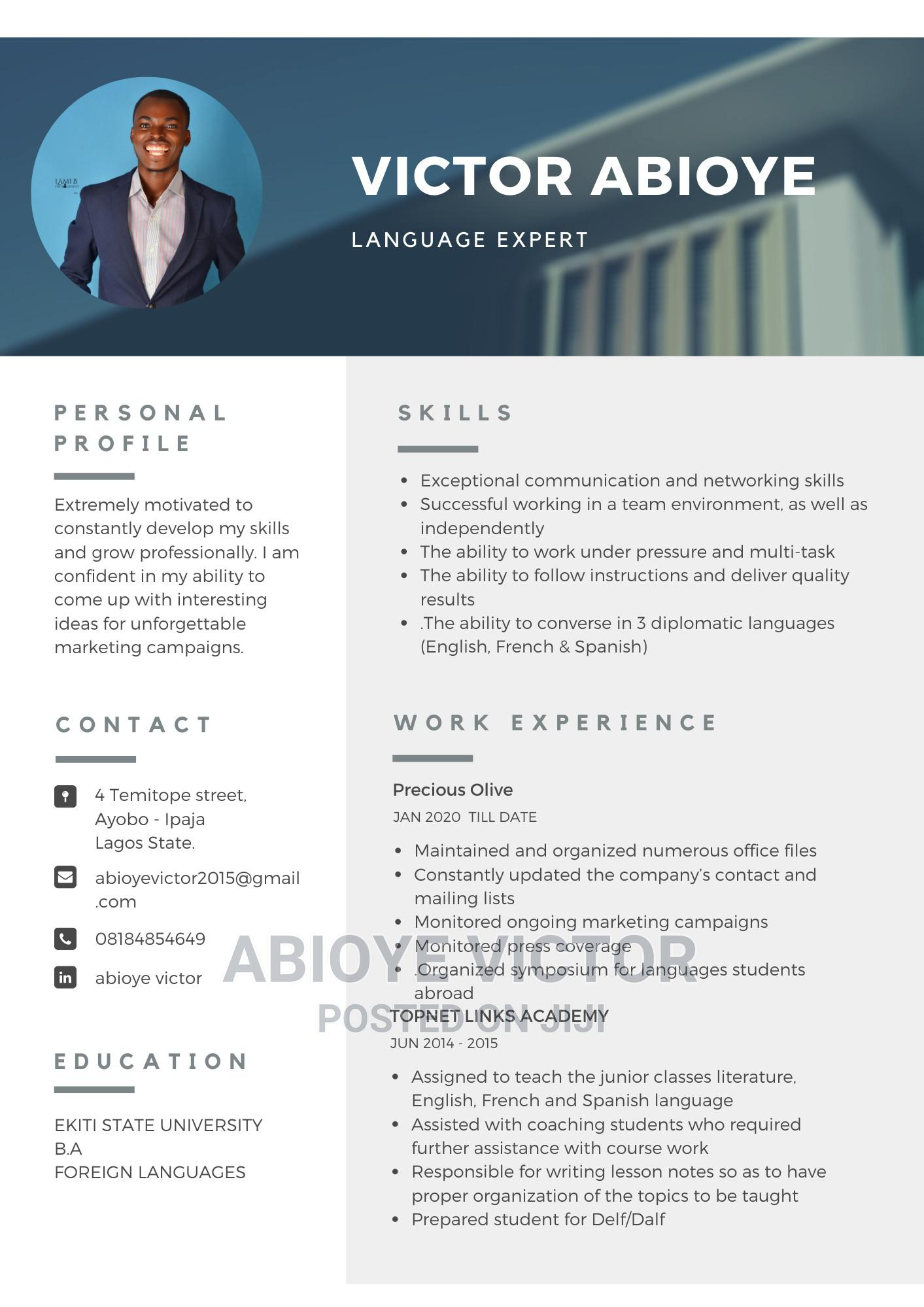 Advertising Marketing CV