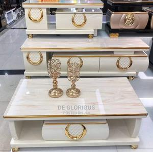 White Nd Gold TV Stand and Center Table   Furniture for sale in Lagos State, Lekki