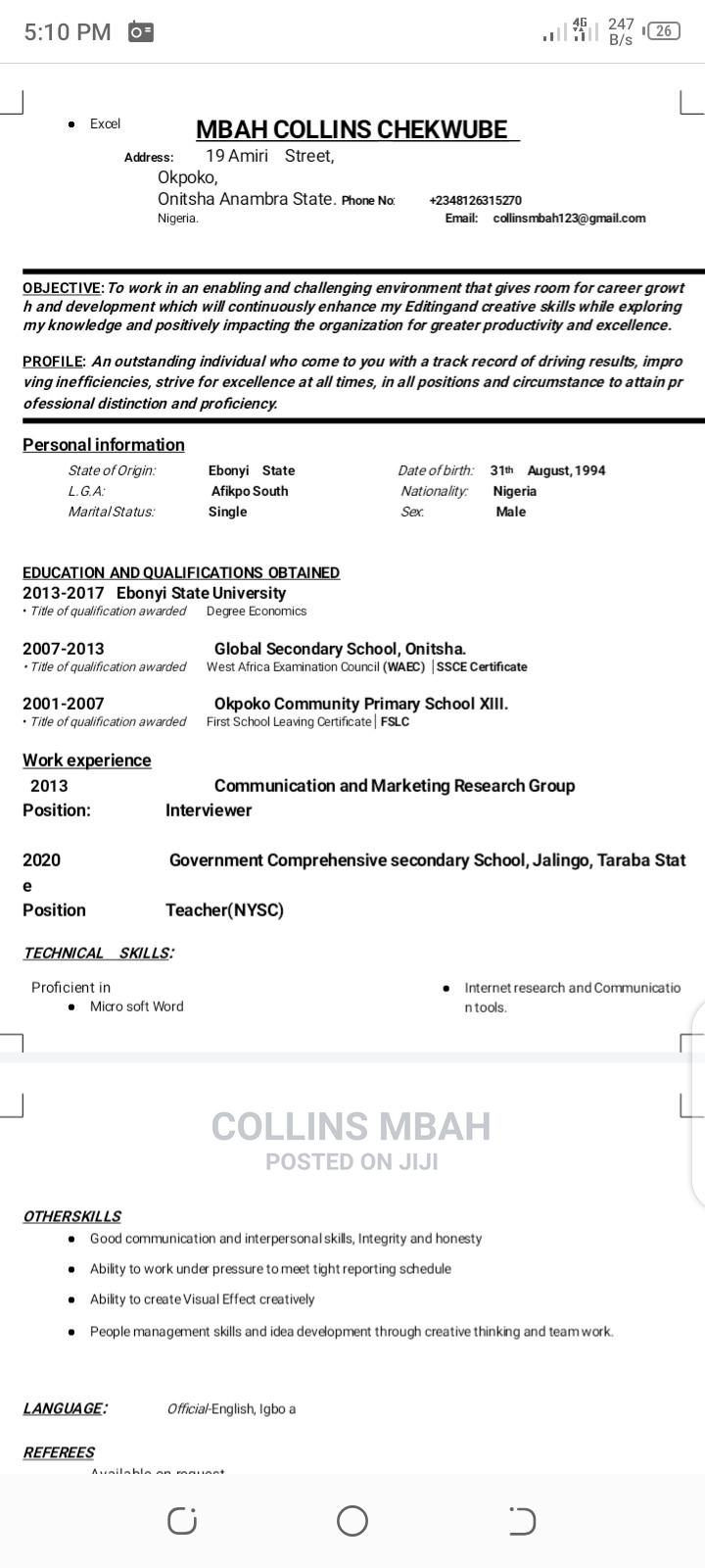 Communication, Research and Marketing   Human Resources CVs for sale in Enugu, Enugu State, Nigeria