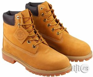 Timberland Premium Waterproof Boot- Wheat Nurbuck Color (Brown) 4 Left | Shoes for sale in Lagos State, Ikeja