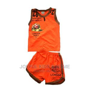 Two Piece Stylish Round Neck Top With Pant-Blue and Orange   Children's Clothing for sale in Lagos State, Ojota