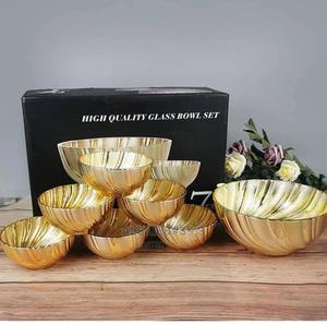 7 Piece Gold Glass Bowl Set | Kitchen & Dining for sale in Abuja (FCT) State, Kubwa
