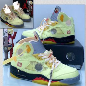 "AIR JORDAN 5 X OFF-WHITE ""Sail"" Sneakers (Glow in Dark) | Shoes for sale in Lagos State, Lagos Island (Eko)"