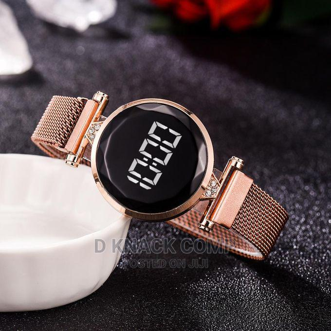 Luxury LED Women Magnetic Bracelet Watches Rose Gold Digital