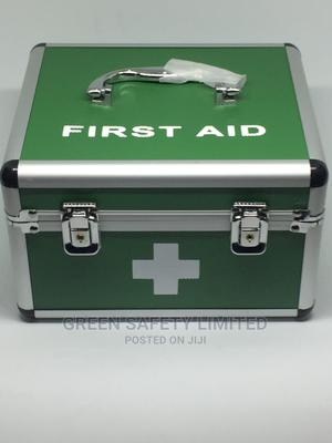 Green Aluminium First Aid Box With Content (Large Size)   Medical Supplies & Equipment for sale in Lagos State, Ikeja