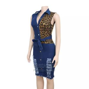 Leopard Jeans Gown | Clothing for sale in Lagos State, Isolo