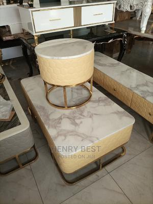 Durable Classy Marble Centre Table With 1 Stool Tv Shelf   Furniture for sale in Lagos State, Yaba