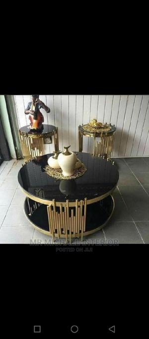 Quality Gold Design Center Table and Two Side Stools | Furniture for sale in Lagos State, Ojo